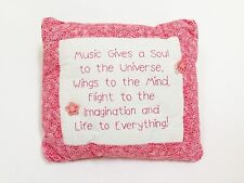 Hand Stitched Pillow - Music Quote Phrase - Pink Floral Needle Work - Decorative