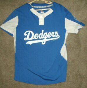 MAJESTIC LOS ANGELES  DODGERS YOUTH  two-button cool base JERSEY SHIRT SZ 10-12