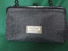 Authentic Fendissime Woman's Hand Bag Black Straw Chain Link Strap Made in Italy