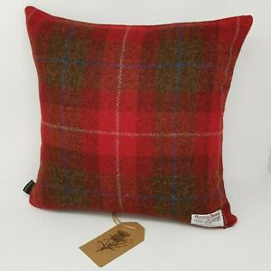 RED Autumn Winter Check WOOL Harris Tweed handmade Cushion Cover all sizes
