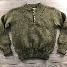 Vintage REMINGTON Outdoor Sage Green Wool Half  Pullover Sweater Size Unknown