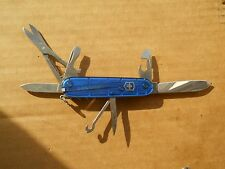 Victorinox Climber Swiss Army knife in translucent sapphire - with hook and pin