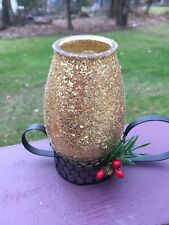 Vintage Gold Glitter Holiday Candle with Black Metal Base