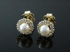 333 Gold Ohrstecker Perlen mit 20 Zirkonia Steinen 5,5 mm 1 Paar
