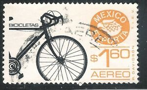 "uar73 Mexico Exporta used paper 1 printing error ""bionic bicycle"" very SCARCE"