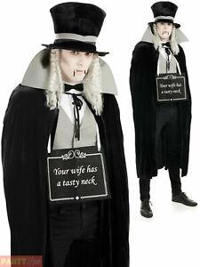 Mens Victorian Silent Film Vampire Costume Dracula Halloween Fancy Dress Gothic