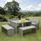 12 Seat Rattan Garden Furniture Dining Ready Assembled Space Saving Melbourne