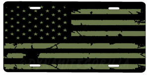 New Subdued OD Green Tactical American Flag License Plate