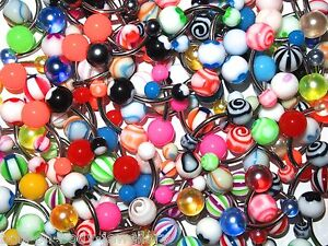 Set of 10  Mixed Belly Navel Bars  - 10mm - No Repeats - Body Jewellery