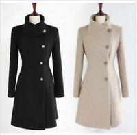 Winter Women Thick Warm Wool Trench Coat Parka Lapel Collar Long Jacket Outwear