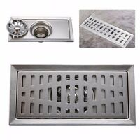 8x4'' Stainless Steel Invisible Bathroom Floor Drain Waste Grate Shower Drainer