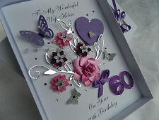 Personalised Handmade Card Birthday 16,18,21,30,50,60,70,80,  Gift Box 3D