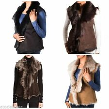 Leather Hip Length V Neck Regular Size Waistcoats for Women