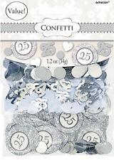 Silver Table Mariage Confettis 25e Anniversaire Décorations de table value pack