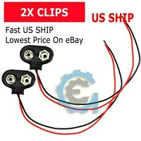 2 Pcs Snap 9V (9 Volt) Battery Clip Connector T Type Black w Cable LW