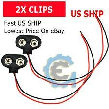 2 Pcs Snap 9V (9 Volt) Battery Clip Connector T Type Black w Cable LW