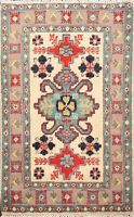 Traditional Hand-Knotted Ivory Super Kazak Oriental Area Rug WOOL Carpet 2x3 ft