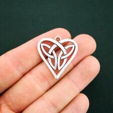 Celtic Knot Heart Charm Antique Silver Tone - SC6157