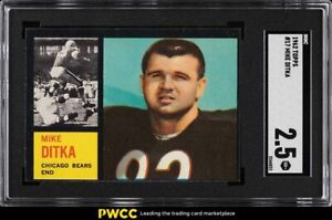 1962 Topps Football Mike Ditka ROOKIE RC #17 SGC 2.5 GD+
