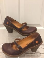 Quality Women's Art Shoes Uk5 EU38 Mary Jane Brown Leather Heels VGC With Box