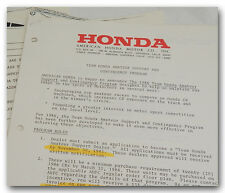1986 TEAM HONDA AMATEUR MOTOCROSS SUPPORT PROGRAM LETTER TO MOTORCYCLE DEALER