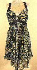 XS Marciano Genuine Silk Black Green Animal Print Sweetheart Neck Dress Guess S