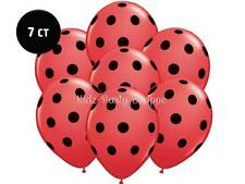 "Red Black Polka Dot Ladybug Balloons [7ct] 11"" Latex Birthday Shower Decorations"
