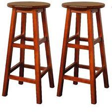 Wooden Kitchen Bar Stools Acacia Hardwood Breakfast Furniture Chairs Bistro 2x