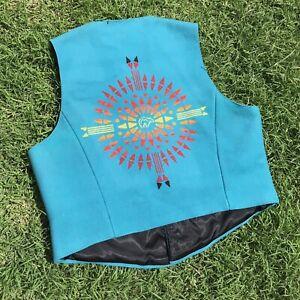 Pendleton High Grade Western Wear Wool Vest Teal Aztec Southwest Sz XL USA Made