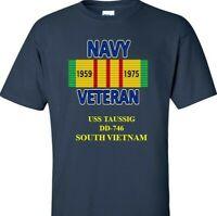 USS TAUSSIG  DD-746   NAVY VIETNAM CAMPAIGN RIBBON & VINYL SHIRT/SWEAT