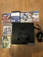 Playstation 3 PS3 Slim 160GB CECH-2021a Console Lot w/ 6 Games System Bundle