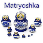 10pcs Set Russian Nesting Dolls Wooden Hand Painted Babushka Matryoshka Blue HK