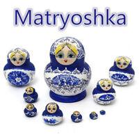 10pcs Set Russian Nesting Dolls Wooden Hand Painted Babushka Matryoshka Blue