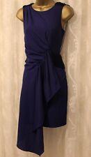 Karen Millen Drape Fringe Back Tassle Shoulder Blue Party Cocktail Dress 10 38