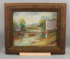 Antique W.A. Speck American Folk Art Country River Mill Oil Painting, NR