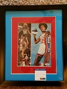 Julius Erving Signed New Jersey Nets 16x19 Custom Framed Photo Display (PSA COA)