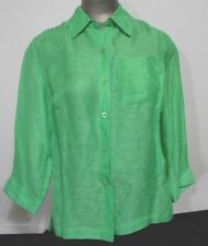 Coldwater Creek Size PS Green  3/4 Length Sleeve Career Shirt Over Blouse