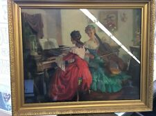 VINTAGE WOOD FRAMED GOLD TRIM PRINT VICTORIAN LADIES PIANO & CELLO LARGE