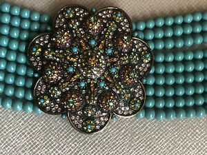 HEIDI DAUS Statement crystals 9 Strand Turquoise Choker Necklace
