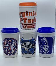 Vtg 90's Blue Devils Cavaliers Hokies Tar Heels Insulated Travel Coffee Mug Cup