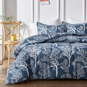 Uozzi Bedding Navy Comforter Set with White Tress, Reversible Queen Size Down Al