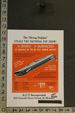 1947 Toy Ad Die-Cast Submarine Diving Dolphin Military Navy Act Detroit War Tb58