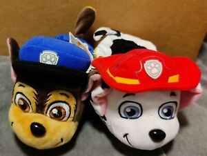 Nickelodeon Paw Patrol Plush Toddler Slippers - Chase & Marshall - Red & Blue