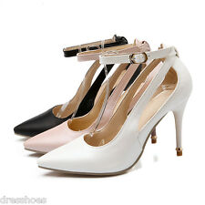 Women's High Heel Pointed Shoes Synthetic Leather Ankle Strap Pumps AU Size D823