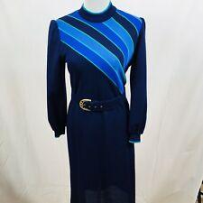 Vintage RICHARD STUMP Acrylic Dress Stripe Blue Belted Work Secretary Smart VGC