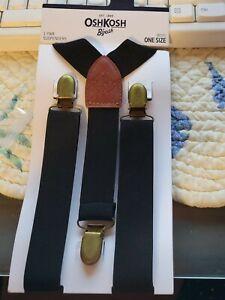 NEW Oshkosh B'gosh Boys Black One Pair of Suspenders One Size