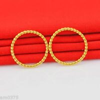 1Pcs Fashion Pure 999 24K Yellow Gold Ring Rope Style Lucky Ring US Size:6.5