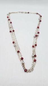 925 Silver 3-Strand Pearl Chain Necklace FC623