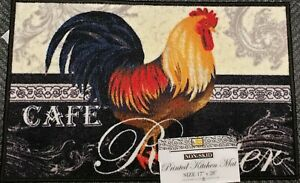 """KITCHEN PRINTED NYLON RUG (nonskid back)(17""""x28"""") CAFE ROOSTER ON BLACK, rec,.BH"""