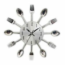 Wall Mounted Clock Kitchen Tool Decoration Spoon Fork Modern Cutlery Home Decor